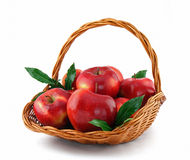Red apples in basket Royalty Free Stock Images