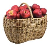 Red apples in basket -isolated Royalty Free Stock Images