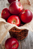 Red Apples Basket Stock Photo