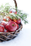 Red apples in basket in snow, outside Stock Photo