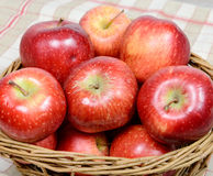 Red apples in a basket wicker Stock Photos