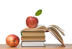 Red apples and  books Royalty Free Stock Photography