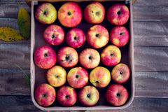 Red apples in a box. On a wooden background royalty free stock images