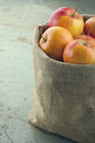 Apples in a sackcloth bag with vintage editing Stock Photography