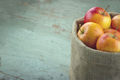 Red apples in a sackcloth bag Stock Images