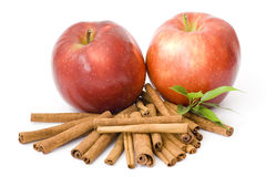 Red apples and cinnamon Royalty Free Stock Photo
