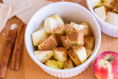 Red apples, cinnamon for apple pie Royalty Free Stock Image