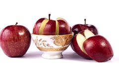 Red apples. Close up view of some red apples isolated on a white background Stock Photo