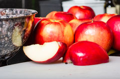Red apples cut and cored Royalty Free Stock Image
