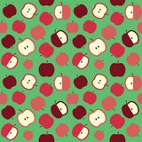 Red apples cute cartoon pattern on green background. Raster. Illustration royalty free illustration
