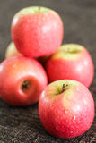 Red apples with dark brown background stock photo