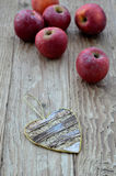 Red apples and decorative heart (Heart Shape) Royalty Free Stock Photography