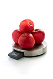 Red apples on digital kitchen scale Stock Images