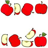 Red apples double horizontal border on white fruit illustration Stock Photography