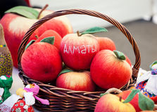 Red apples from felt Stock Photography