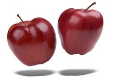 Red apples floating stock images