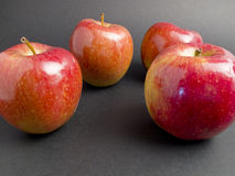 Red apples and fresh on a black background. Some red apples and fresh on a black background Stock Image