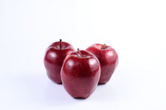 Red apples. Fresh red apples on white background stock photos