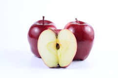 Red apples. Fresh red apples on white background royalty free stock photos