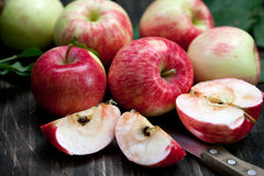 Red Apples. Fresh red apples on the wood Stock Photography