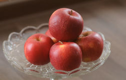 Red Apples. Apples, red apples, apples on the glass tray, apples for eating stock images