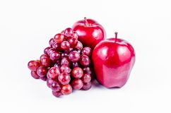 Red apples and grape Stock Photos