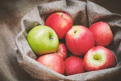 Red apples, green apple in the bowl cover with burlap, top view royalty free stock photos
