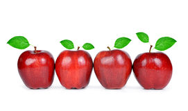 Red apples with green leaf Royalty Free Stock Photos