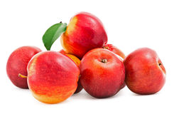 Red Apples with green leaf on white Stock Photo