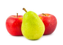 Red apples and green pear Royalty Free Stock Image