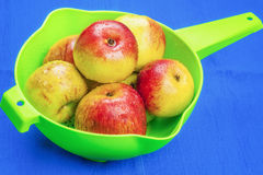 Red apples in green sieve on blue Stock Photo