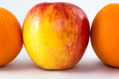 Red apples with half orange. Horizontal line of red apples with half orange royalty free stock image