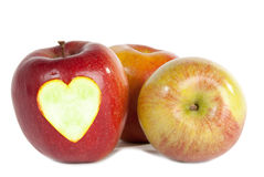 Red apples with heart Stock Photos