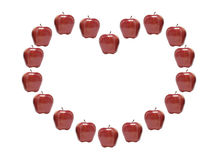 Red Apples in Heart Shape Stock Image