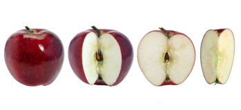 Apple. Red apples. Integer and sliced ​​on a white background stock photos
