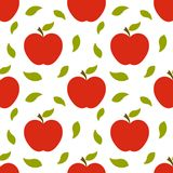 Red apples and leaves autumn pattern vector illustration