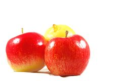 Red apples and lemon Stock Images
