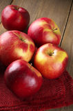 Red apples on napkin Stock Image