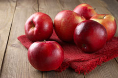 Red apples on napkin Royalty Free Stock Photos