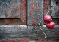 Red apples on old shabby wooden background Royalty Free Stock Photography