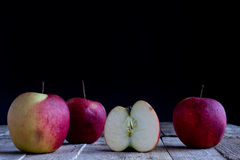 Red Apples on old table royalty free stock photography