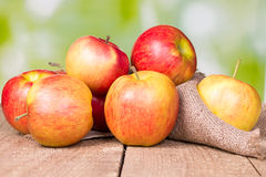 Red apples on an old wooden Stock Photos