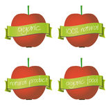 Red apples with organic and natural banners eps10 Royalty Free Stock Photos