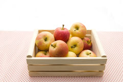 Red apples. Photo of freshly picked red apples in a wooden crate on Tablecloth Royalty Free Stock Photography