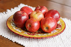 Red Apples on Plate Stock Photos