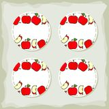 Red apples round sticker set Royalty Free Stock Image