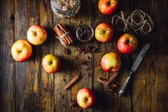 Apples with Different Spices. Red Apples with Scattered Clove, Cinnamon and Anise Star. Candy Sugar and Some CLove in a Jar. Ingredients for Prepare Christmas Royalty Free Stock Image