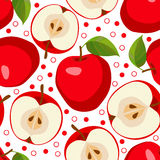 Red apples . Seamless pattern with apples. Royalty Free Stock Photos