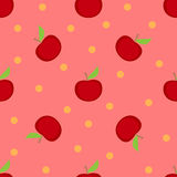 Red apples seamless pattern. On a pink background Royalty Free Stock Photography