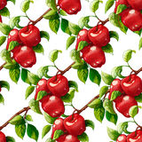 Red apples seamless pattern. Raster illustration. Artistic natural food background. Apple branches illustration. Recomended for textile, packaging, paper Royalty Free Illustration